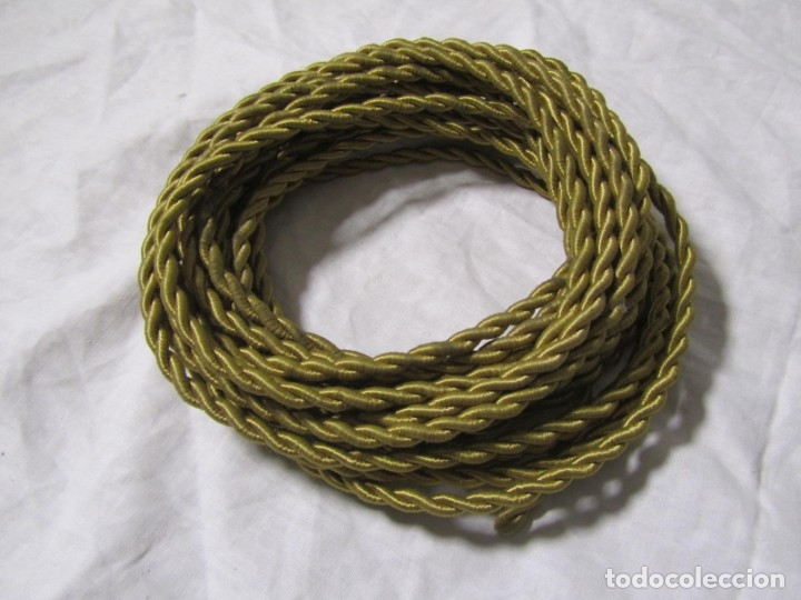 Antigüedades: 7 metros de cable antiguo de tela dorada, en uso - Foto 2 - 182644442