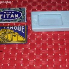 Antigüedades: EL TANQUE - HOJA TITAN - ESTUCHE - LOTE DE 3 - CUCHILLAS EN ESTADO IMPECABLE. Lote 182660493