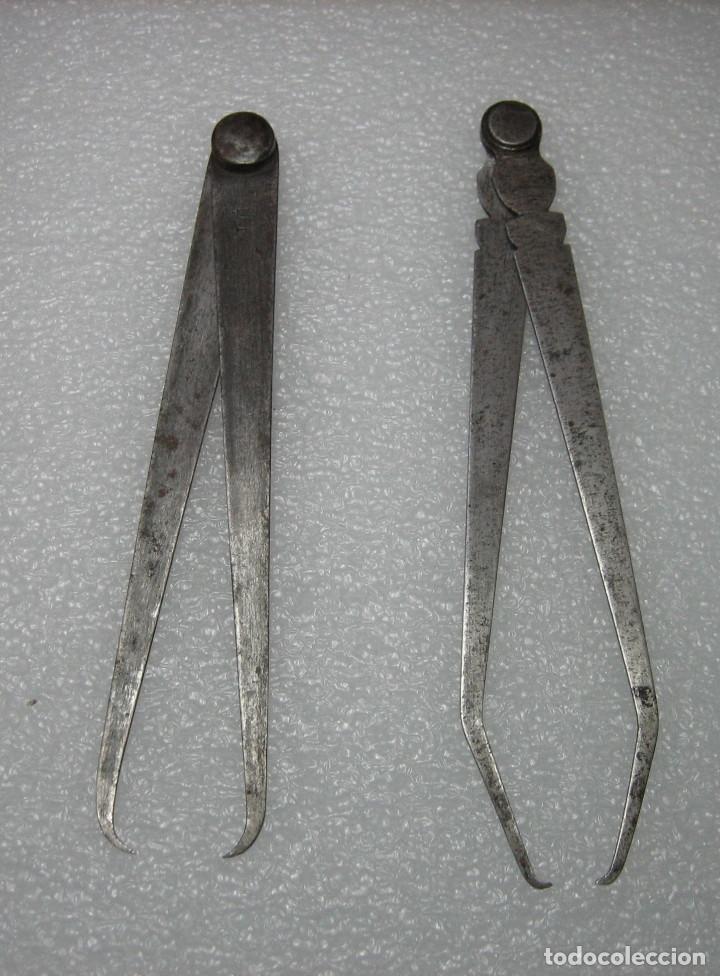 2 COMPASES DE 18,5 Y 20 CM DE LARGO (Antigüedades - Técnicas - Herramientas Profesionales - Carpintería )