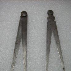 Antigüedades: 2 COMPASES DE 18,5 Y 20 CM DE LARGO. Lote 182762046