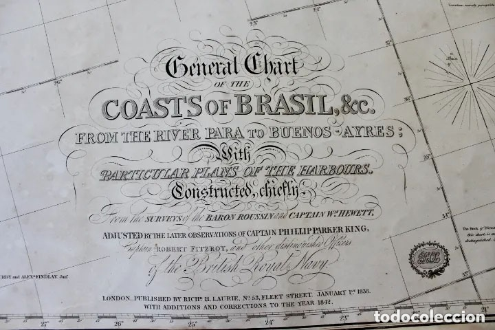 CARTA NAVAL,GENERAL CHART OF THE COASTS OF BRASIL, FROM THE RIVER PARA TO BUENOS AIRES.R.LAURIE,1838 (Antigüedades - Antigüedades Técnicas - Marinas y Navales)