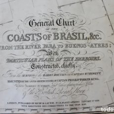 Antigüedades: CARTA NAVAL,GENERAL CHART OF THE COASTS OF BRASIL, FROM THE RIVER PARA TO BUENOS AIRES.R.LAURIE,1838. Lote 182838378