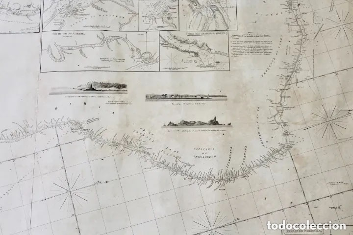 Antigüedades: CARTA NAVAL,GENERAL CHART OF THE COASTS OF BRASIL, FROM THE RIVER PARA TO BUENOS AIRES.R.LAURIE,1838 - Foto 2 - 182838378