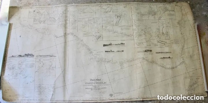 Antigüedades: CARTA NAVAL,GENERAL CHART OF THE COASTS OF BRASIL, FROM THE RIVER PARA TO BUENOS AIRES.R.LAURIE,1838 - Foto 3 - 182838378