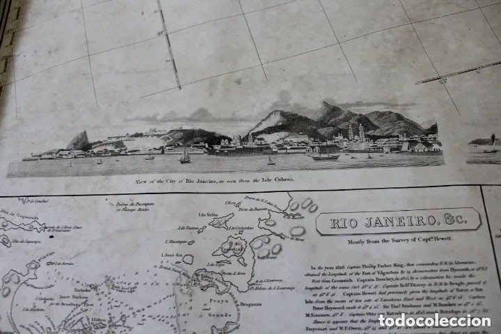 Antigüedades: CARTA NAVAL,GENERAL CHART OF THE COASTS OF BRASIL, FROM THE RIVER PARA TO BUENOS AIRES.R.LAURIE,1838 - Foto 4 - 182838378