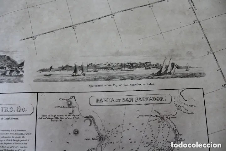 Antigüedades: CARTA NAVAL,GENERAL CHART OF THE COASTS OF BRASIL, FROM THE RIVER PARA TO BUENOS AIRES.R.LAURIE,1838 - Foto 5 - 182838378
