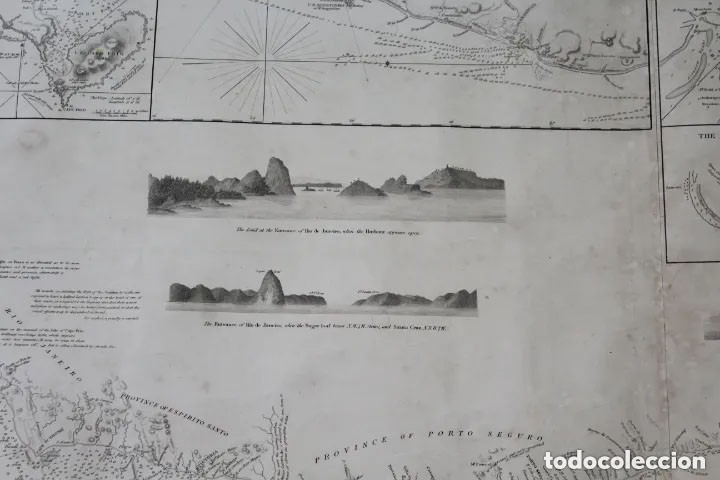 Antigüedades: CARTA NAVAL,GENERAL CHART OF THE COASTS OF BRASIL, FROM THE RIVER PARA TO BUENOS AIRES.R.LAURIE,1838 - Foto 6 - 182838378