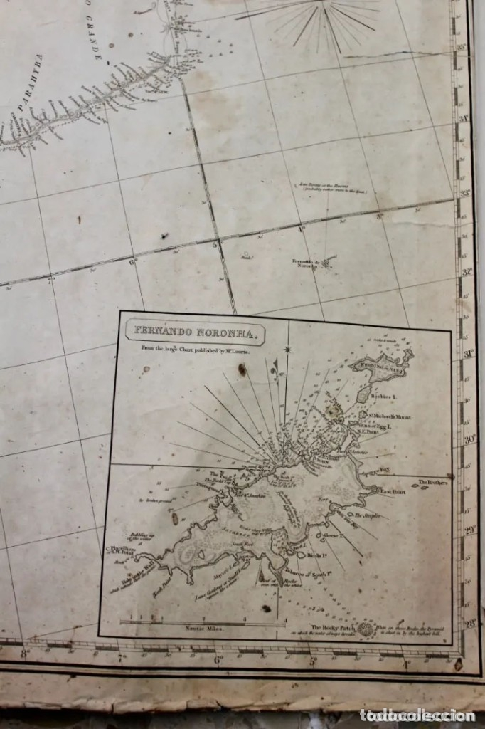 Antigüedades: CARTA NAVAL,GENERAL CHART OF THE COASTS OF BRASIL, FROM THE RIVER PARA TO BUENOS AIRES.R.LAURIE,1838 - Foto 8 - 182838378