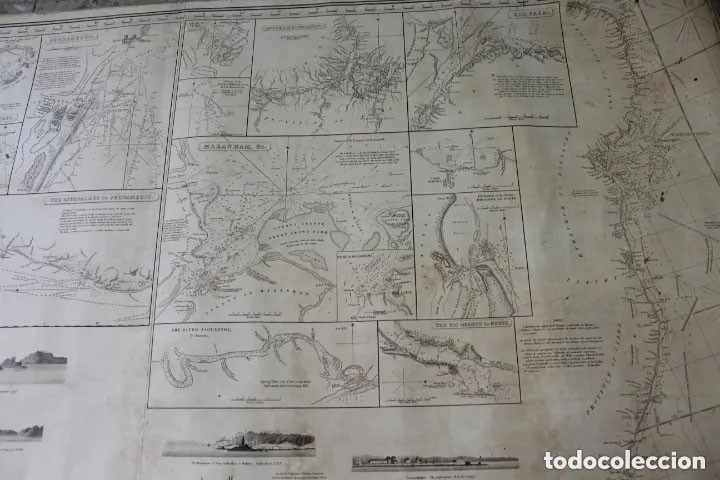 Antigüedades: CARTA NAVAL,GENERAL CHART OF THE COASTS OF BRASIL, FROM THE RIVER PARA TO BUENOS AIRES.R.LAURIE,1838 - Foto 9 - 182838378
