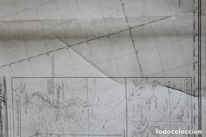 Antigüedades: CARTA NAVAL,GENERAL CHART OF THE COASTS OF BRASIL, FROM THE RIVER PARA TO BUENOS AIRES.R.LAURIE,1838 - Foto 10 - 182838378
