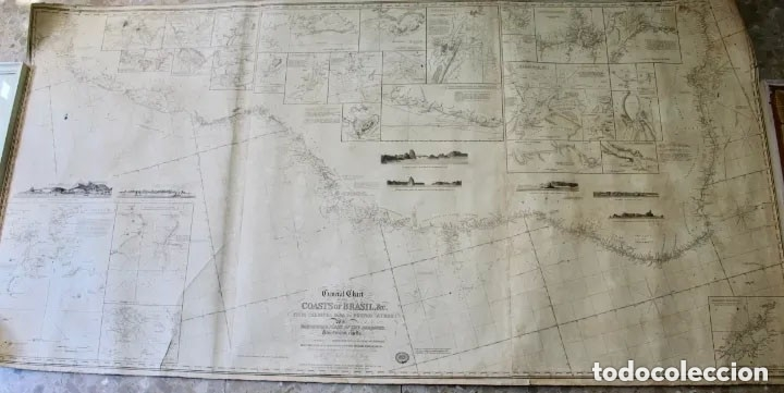 Antigüedades: CARTA NAVAL,GENERAL CHART OF THE COASTS OF BRASIL, FROM THE RIVER PARA TO BUENOS AIRES.R.LAURIE,1838 - Foto 11 - 182838378