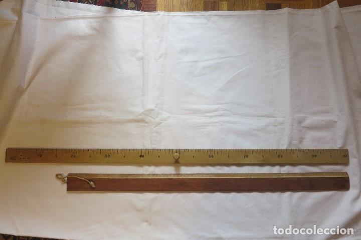 REGLA DE 1 METRO Y OTRA DE 80 CENT (Antigüedades - Técnicas - Medidas de Peso Antiguas - Otras)