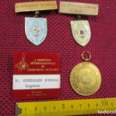Antigüedades: OFTALMOLOGIA - 4 PLACAS 3 NOMINATIVAS CONGRESOS OFTALMOLOGIA PALMA 1964, SEVILLA 65, 1958 ++ INFO. Lote 182891000