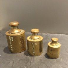 Antigüedades: LOTE PESAS, PONDERALES, BRONCE, CON SUS SELLOS ORIGINALES. Lote 182913038