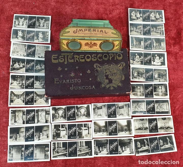 VISOR ESTEREOSCÓPICO IMPERIAL. 24 FOTOGRAFIAS. CAJA NO ORIGINAL. CIRCA 1920. (Antigüedades - Técnicas - Aparatos de Cine Antiguo - Visores Estereoscópicos Antiguos)