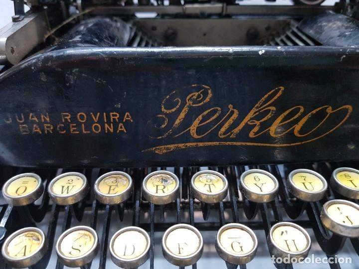 Antigüedades: Máquina escribir PERKEO Portatil made in Spain extremadamente dificil - Foto 2 - 183034812