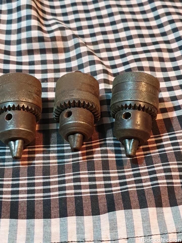 CONJUNTO DE 3 PORTABROCAS, BOCAS DE TALADRO, LO FOTOGRAFIADO. (Antigüedades - Técnicas - Herramientas Profesionales - Mecánica)