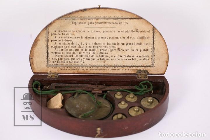 ANTIGUA BÁSCULA PARA PESAR MONEDAS DE ORO - JOSÉ FARRIOLS - CON ESTUCHE - COMPLETA (Antigüedades - Técnicas - Medidas de Peso - Básculas Antiguas)