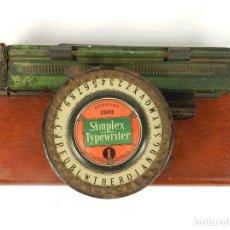Antigüedades: MAQUINA DE ESCRIBIR SIMPLEX Nº1 SPECIAL 1909 TYPEWRITER SCRHEIBMASCHINE. Lote 183268891