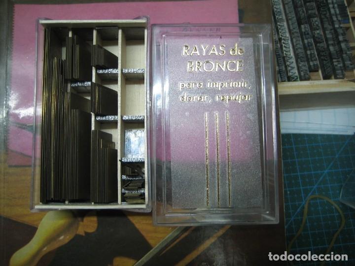 IMPRENTA ENCUADERNACIÓN, RAYAS BRONCE PARA ESTAMPAR E IMPRIMIR, MOD. FINA 2 PUNTO - LOTE 2-8 (Antigüedades - Técnicas - Herramientas Profesionales - Imprenta)