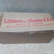 Antigüedades: CAJA LITHINÉS DEL DOCTOR GUSTIN S.A.E CON 68 SOBRES DE 20 PESETAS, MEDICAMENTO DE FARMACIA.. Lote 183330347