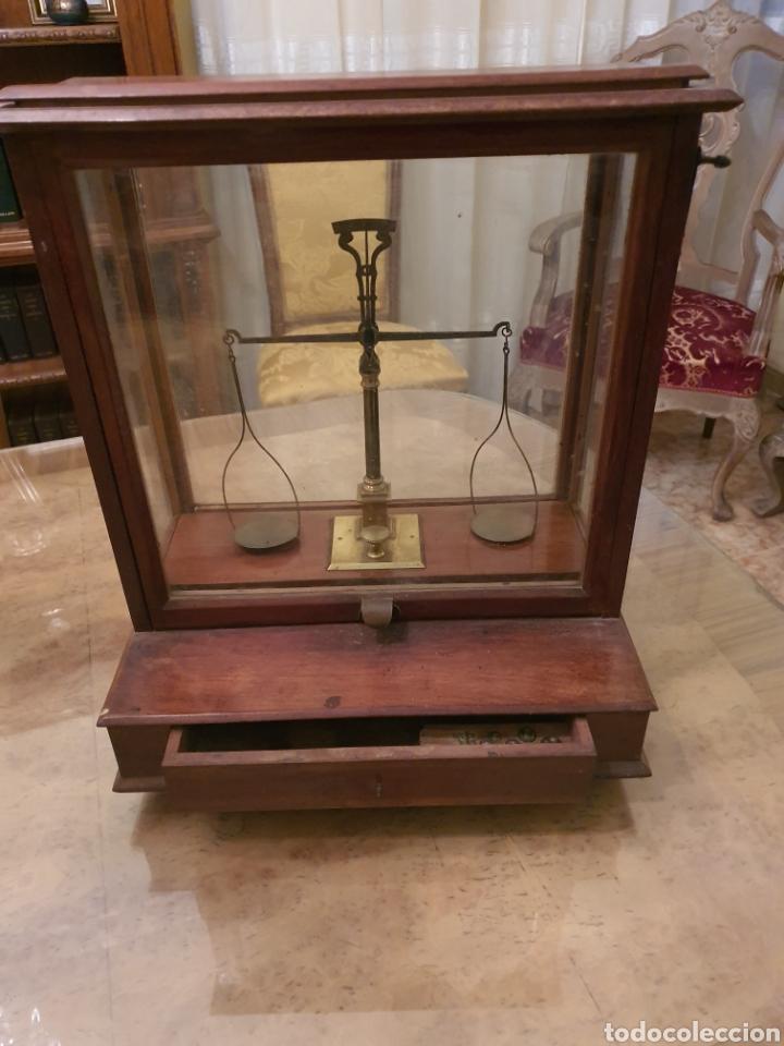 Antigüedades: bascula balanza precisión menaya. farmacia. pesas caja guillotina caoba - Foto 2 - 183405128