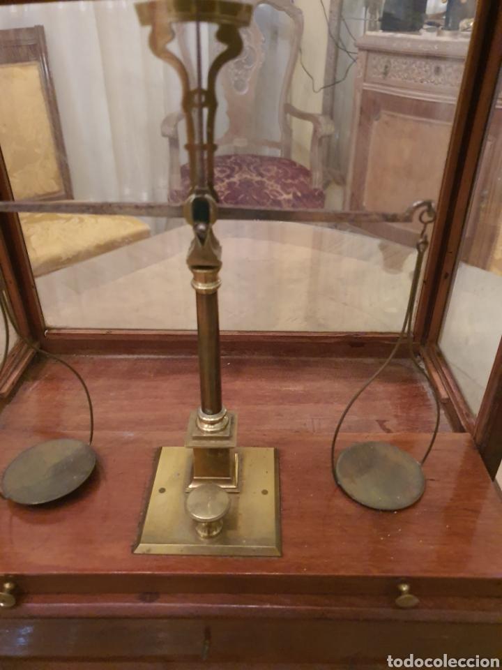 Antigüedades: bascula balanza precisión menaya. farmacia. pesas caja guillotina caoba - Foto 6 - 183405128