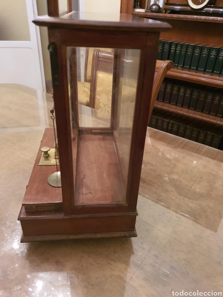 Antigüedades: bascula balanza precisión menaya. farmacia. pesas caja guillotina caoba - Foto 8 - 183405128