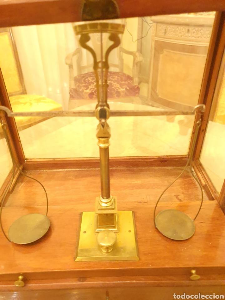 Antigüedades: bascula balanza precisión menaya. farmacia. pesas caja guillotina caoba - Foto 11 - 183405128