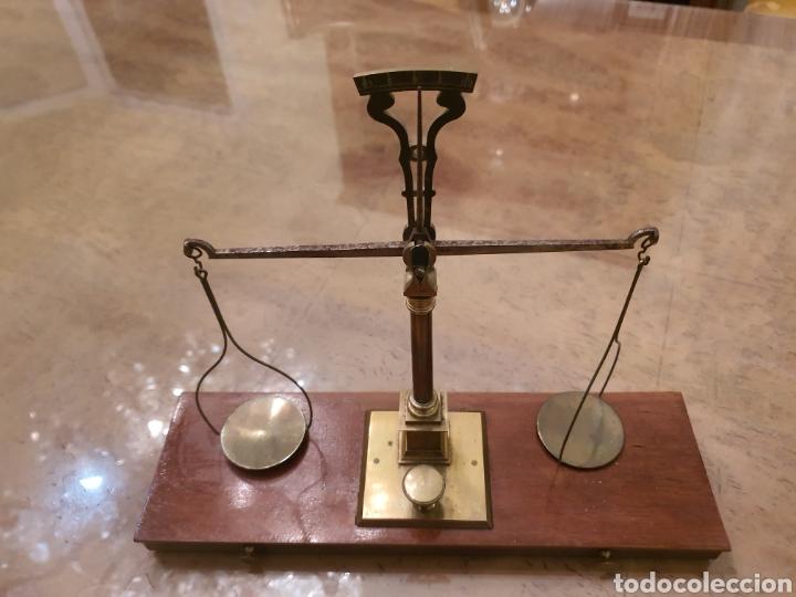 Antigüedades: bascula balanza precisión menaya. farmacia. pesas caja guillotina caoba - Foto 12 - 183405128