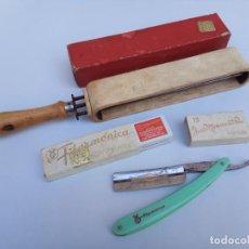 Antigüedades: JUEGO AFILADOR Y NAVAJA FILARMONICA JOSE MONTSERRAT 13 DOBLE TEMPLE . Lote 183502948