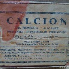 Antigüedades: CAJA DE FARMACIA DEL DOCTOR ROMERO ( ALICANTE ) CALCION INTRAVENOSO RAQUITISMO * SIN ABRIR * AÑOS 40. Lote 183559135