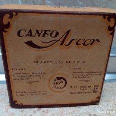 Antigüedades: CAJA DE FARMACIA CANFOASCOR AMPOLLAS * LLENA * LABORATORIO EROS ( MADRID ) AÑOS 40, MEDICINA.. Lote 183559896