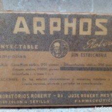 Antigüedades: CAJA DE FARMACIA ARPHOS AMPOLLAS DE LABORATORIOS ROBRET ( SEVILLA ) AÑOS 30 SIN DESPRECINTAR.. Lote 183566726