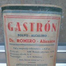 Antigüedades: CAJA DE FARMACIA GASTRON POLVO ALCALINO DEL DR. ROMERO ALICANTE AÑOS 40 * SIN ABRIR *. Lote 183567931