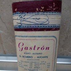 Antigüedades: CAJA DE FARMACIA GASTRON POLVO ALCALINO DEL DR. ROMERO ALICANTE AÑOS 40 * SIN ABRIR *. Lote 183567990