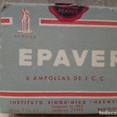 Antigüedades: CAJA DE FARMACIA EPAVER AMPOLLAS DE INSTITUTO BIOQUIMONO HERMES ( BARCELONA ) LLENA AÑOS 40.. Lote 183576392