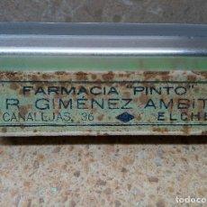 Antigüedades: CAJA DE DOS AMPOLLAS FARMACIA PINTO R. GIMÈNEZ AMBIT ( ELCHE ). Lote 183576608