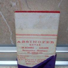 Antigüedades: CAJA DE FARMACIA ARSINOFER GOTAS DEL DR. ROMERO ALICANTE AÑOS 40 * SIN ABRIR *. Lote 183577262