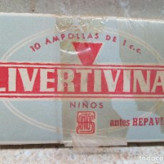 Antigüedades: CAJA DE FARMACIA LUVERTIVINA INFANTIL DE LABORATORIOS SANTOS ( MADRID ) LLENA AÑOS 50, MEDICAMENTO.. Lote 183578057