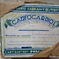 Antigüedades: CAJA DE FARMACIA LABORATORIO PONS ( LERIDA ) CANFOCARDIOL ALCANFOR HIDROSOLUBLE 1936 SIN ABRIR.. Lote 183578590