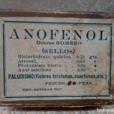 Antigüedades: CAJA DE FARMACIA ANOFENOL DEL DR. ROMERO ALICANTE AÑOS 40 * LLENA *. Lote 183579401