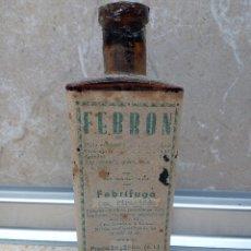 Antigüedades: FRASCO DE MEDICINA FEBRON DEL DR. ROMERO ( ALICANTE ( LLENA ) AÑOS 40.. Lote 183580031