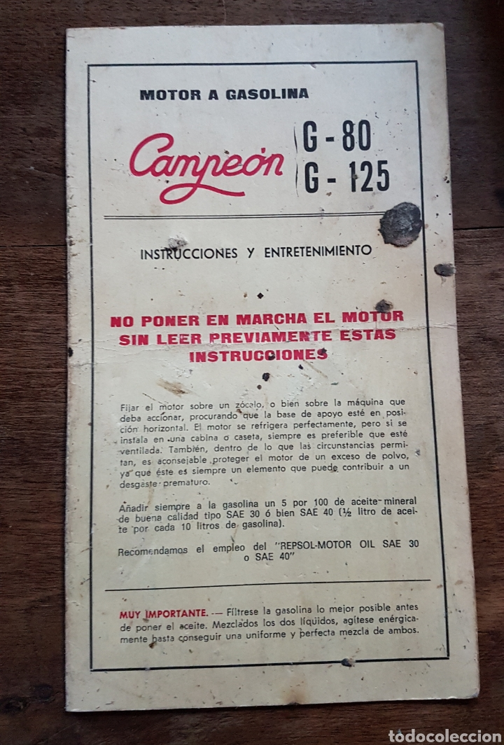 Antigüedades: Antiguo y magnífico motor campeón fabricación española con instrucciones completo zxy - Foto 8 - 183699856