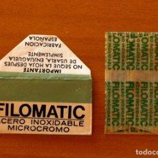 Antigüedades: FUNDA-SOBRE DE HOJA DE AFEITAR - FILOMATIC ACERO INOXIDABLE MICROCROMO - CON CUCHILLA - AÑO 1944. Lote 183826165