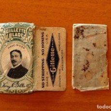 Antigüedades: FUNDA-SOBRE DE HOJA DE AFEITAR - GILLETTE BLADE KING GILLETTE - CON CUCHILLA - AÑO 1944. Lote 183826328