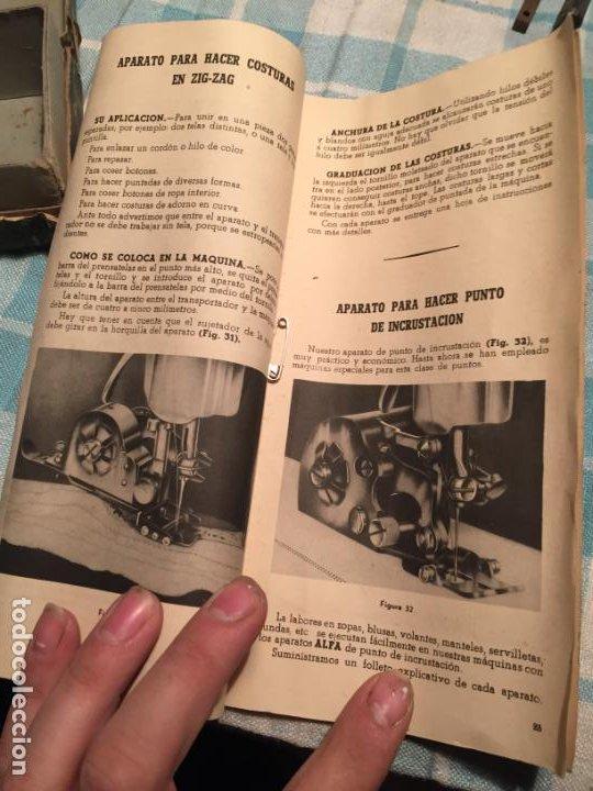 Antigüedades: Antigua caja de cartón de maquinas de coser marca Alfa S.A. Eibar años 40-50 - Foto 12 - 184048857