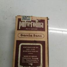 Antigüedades: UNICA EN TC ANTIGUA CAJA MEDICAMENTO PULVEROLINA LABORATORIOS GARCIA SANZ MADRID AÑO 1927 LLENA. Lote 184121696