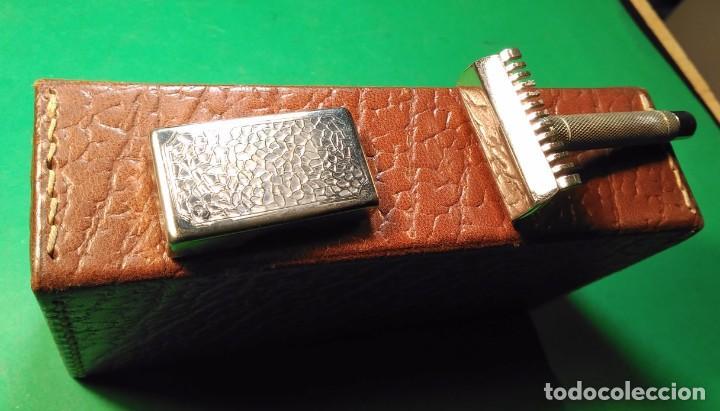 Antigüedades: Estuche cuero afeitar WAGENSBERG marca Española, maquinilla Excelente. safety razor - Foto 6 - 184136343