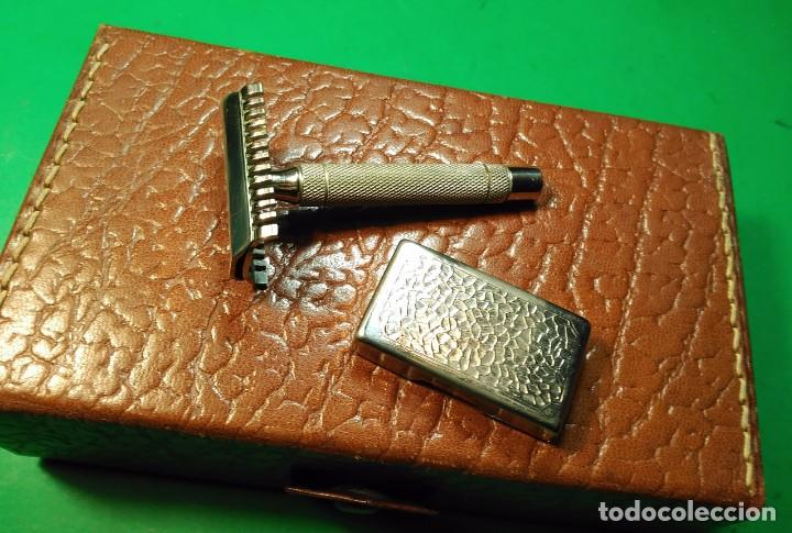 Antigüedades: Estuche cuero afeitar WAGENSBERG marca Española, maquinilla Excelente. safety razor - Foto 4 - 184136343